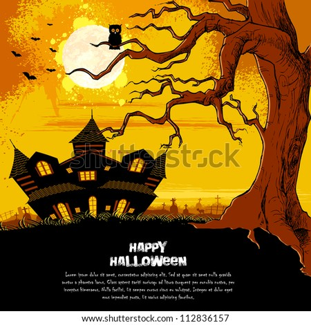 illustration of abandoned haunted house in halloween night