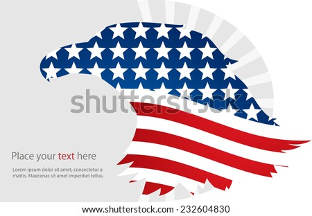 Illustration of abstract American background.American Eagle