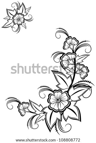 Illustration of abstract black and white floral corner