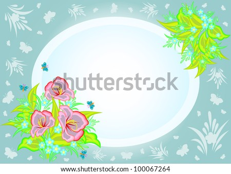 Illustration of abstract flowers in frame with background