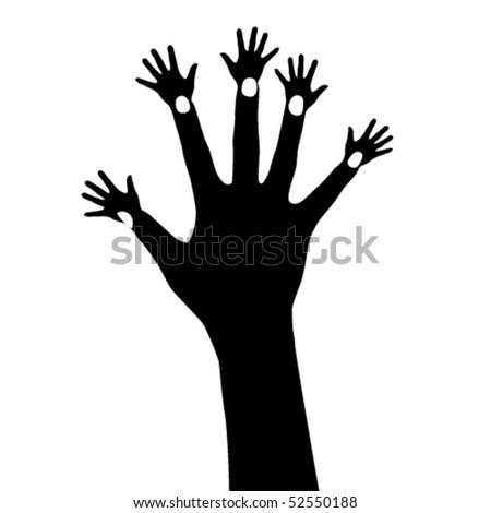 Illustration of abstract hand tree