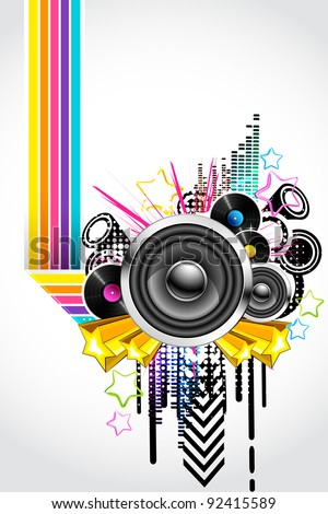 illustration of abstract musical background in retro style