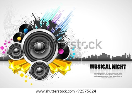 illustration of abstract musical background on cityscape