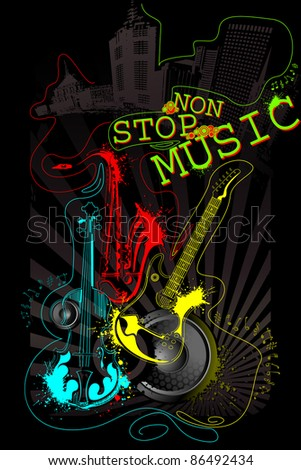illustration of abstract musical background with guitar, saxophone and violin