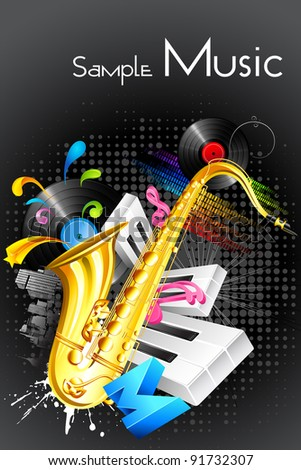 illustration of abstract musical background with saxophone and guitar