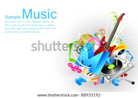illustration of abstract musical background with speaker and guitar