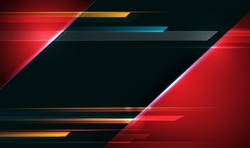 Illustration of abstract red and black metallic with light ray and glossy line. Metal frame design for background. Vector design modern digital technology concept for wallpaper, banner template