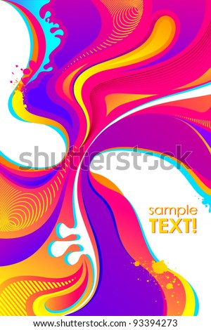 illustration of abstract spalshs of colors on Holi background