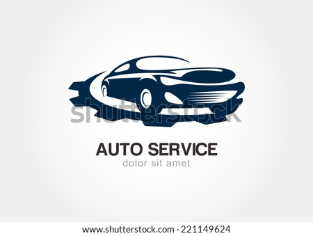 Illustration Of Abstract Sport Car With Gears Cogs. Vector Logo Design  Template. Concept For