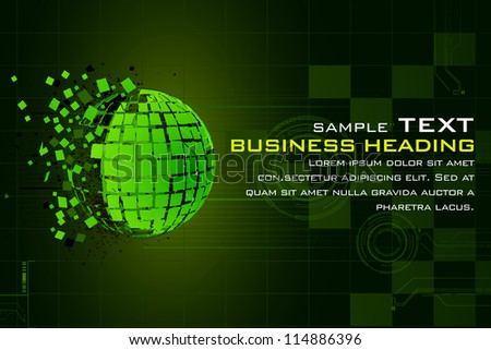 illustration of abstract technology background with earth in pieces