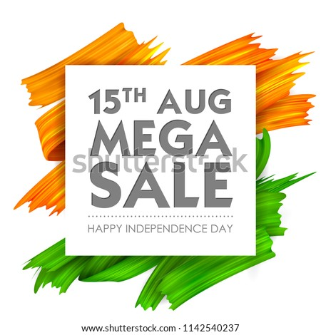 illustration of Acrylic brush stroke tricolor banner with Indian flag for 15th August Happy Independence Day of India Sale Promotion advertisement background