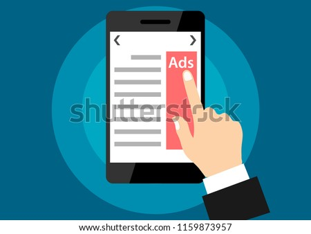 illustration of advertise click from smartphone website