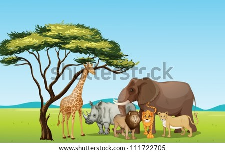 Illustration of African animals in savannah