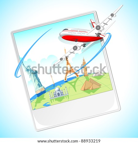 illustration of airplane flying around the photograph of world famous monument
