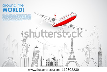 illustration of airplane flying over sketch of famous monument