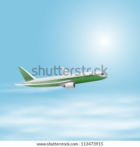 Illustration of airplane in the sky. EPS10 vector.