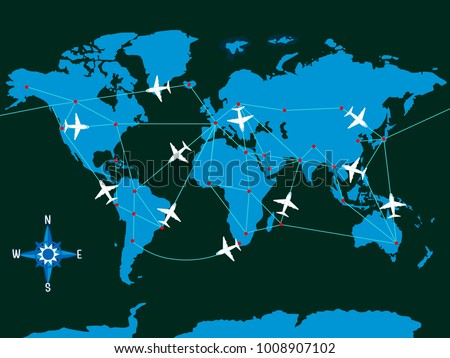 Illustration of Airplanes and their Fake Routes with Dotted Airports Across the World