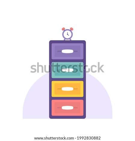illustration of alarm clock and plastic cupboard. clothes place. four shelves. flat cartoon style. vector design