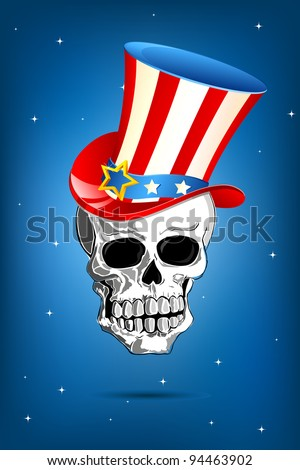illustration of american flag colored hat on skull