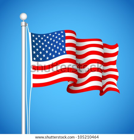 illustration of American Flag waving in sky backdrop - stock vector