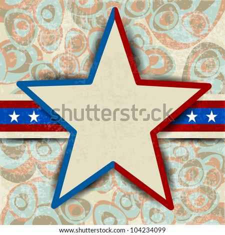 Illustration of American Independence Day of 4th July with star in flag color on decorative floral background.EPS 10. Can be use as banner, poster and flyer.