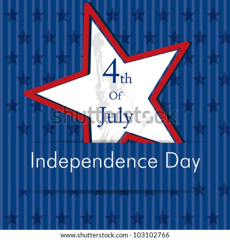 Illustration of American Independence Day of 4th July with star on blue color background.EPS 10. Can be use as banner, poster and flyer.