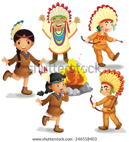 Illustration of american indians dancing around the campfire