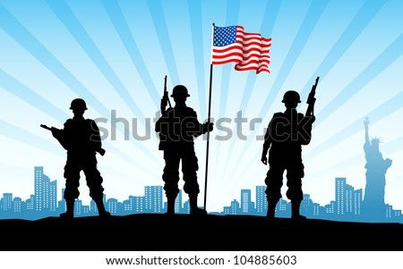 illustration of American soldier standing with flag on city backdrop