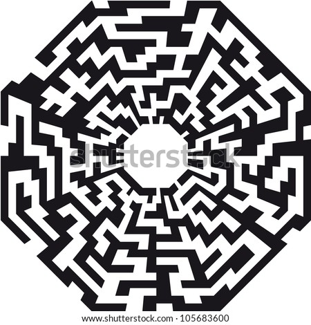 illustration of an abstract maze with the shape of an octaeder
