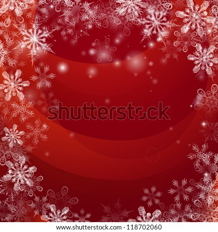 Illustration of an abstract red background with snow falling in the form of snowflakes forming a border or frame with copyspace in the centre.