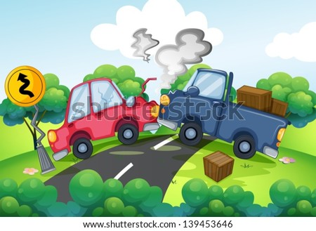 Illustration of an accident at the road