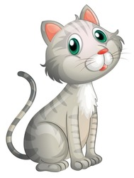 Illustration of an adorable cat on a white background