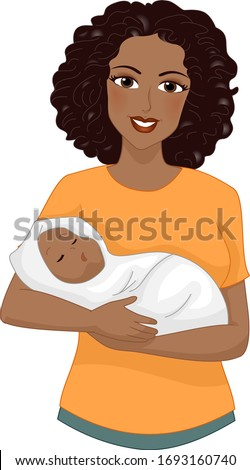 Illustration of an African American Girl Mother Carrying Her Baby in a Wrap
