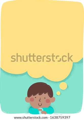 Illustration of an African American Kid Boy Day Dreaming with a Big Blank Thinking Cloud Board with Space for Text Foto stock ©