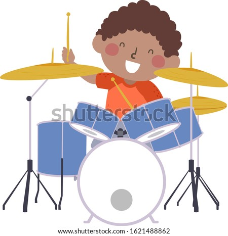 Illustration of an African American Kid Boy Holding Drum Sticks Practicing Drumming