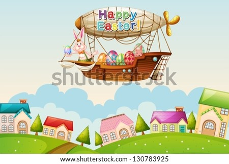 Illustration of an airship above the hills with an easter greeting - stock vector