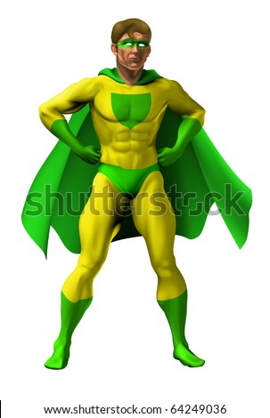 Illustration of an amazing superhero dressed in yellow and green costume with cape standing with hands on hip
