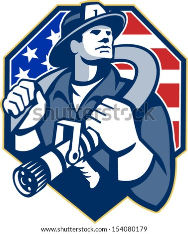 Illustration of an American fireman fire fighter emergency worker slinging a fire hose on shoulder set inside shield with USA stars and stripes flag done in retro style
