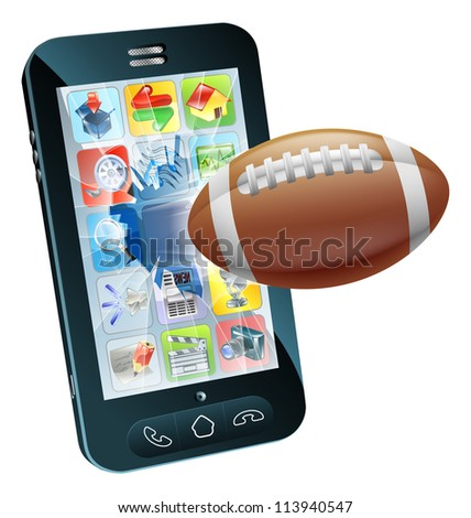 Illustration of an American football ball flying out of cell phone screen