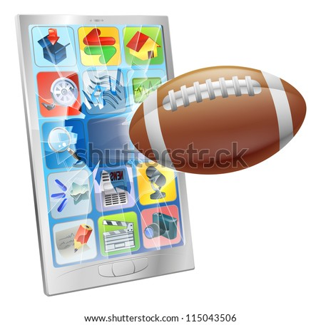 Illustration of an American football ball flying out of mobile phone screen