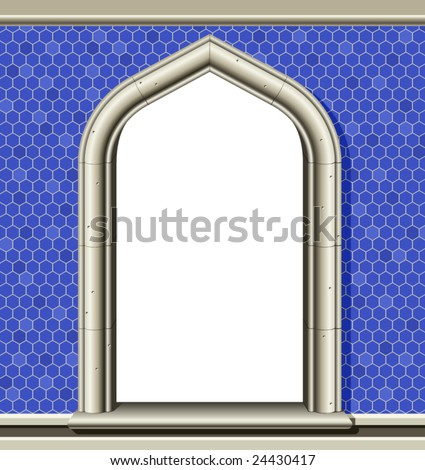 stock-vector-illustration-of-an-ancient-arched-window-in-a-wall-of-blue-tiles-suitable-as-a-frame-or-border-24430417.jpg