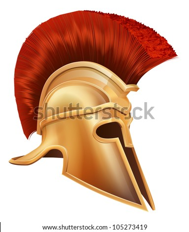 Illustration of an ancient Greek Warrior helmet, Spartan helmet, Roman helmet or Trojan helmet.