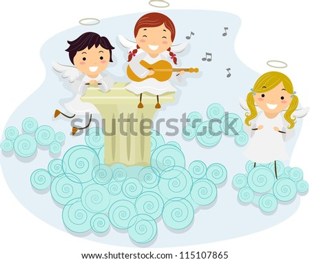 Illustration of An Angel Playing the Guitar While Other Angels Sing Along
