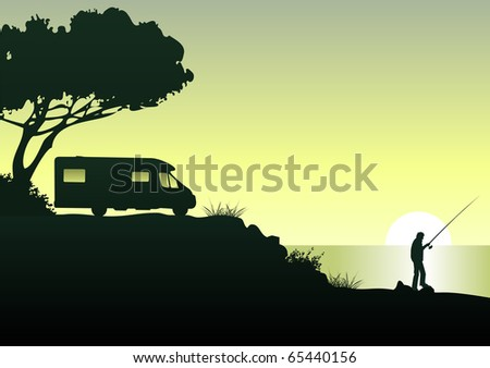 Illustration of an angler with his caravan enjoying his spare time at the sea