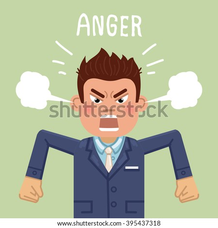 Illustration of an angry businessman. Emotional businessman in rage. Feeling anger. Emoticon, emoji. Simple style vector illustration
