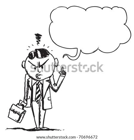 Illustration of an angry businessman speaking