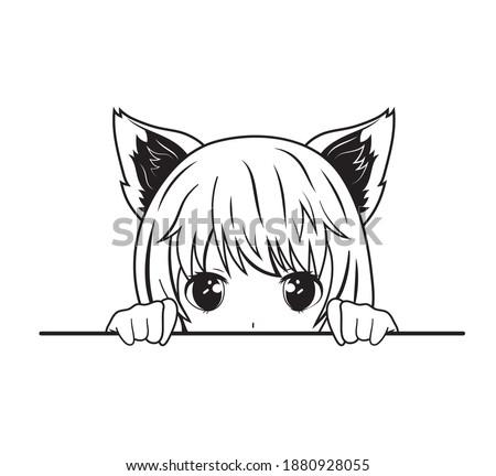 Illustration of an anime girl with cat ears. Cartoon peeking girl. Cute emotional character. Fox anime girl. Tattoo.