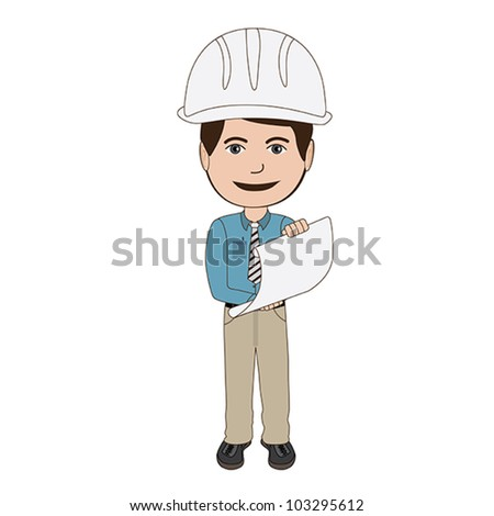 illustration of an architect, engineer holding a plan, isolated in white background.