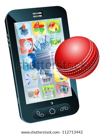 Illustration of an cricket ball flying out of mobile phone screen