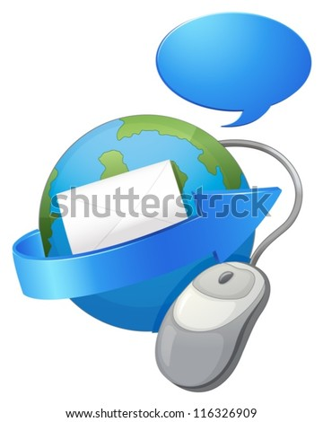 illustration of an earth, arrow, envelop and a mouse on a white background